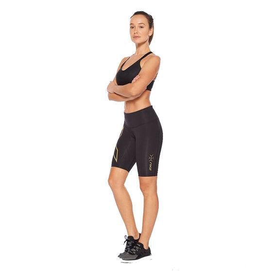 2XU Womens Light Speed Mid Rise Compression Shorts, Black, rebel_hi-res