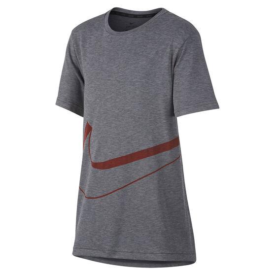 fc11a565b Nike Boys Breathe Hyper Dry Graphic Tee, Grey, rebel_hi-res