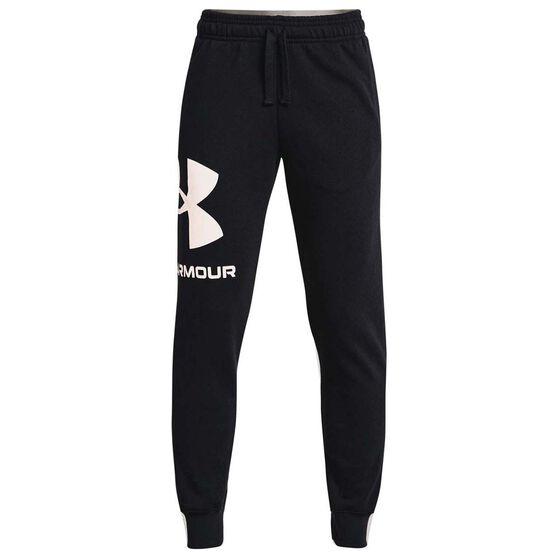 Under Armour Boys Rival Fleece Logo Jogger Pants, Black/White, rebel_hi-res