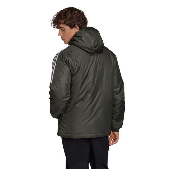 adidas Mens Essentials Insulated Hooded Jacket, Green, rebel_hi-res