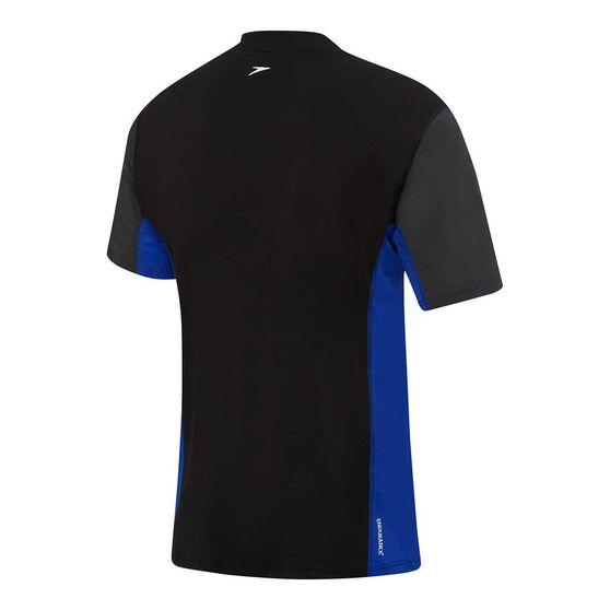 Speedo Mens Motion Relaxed Short Sleeve Rash Vest, Black, rebel_hi-res