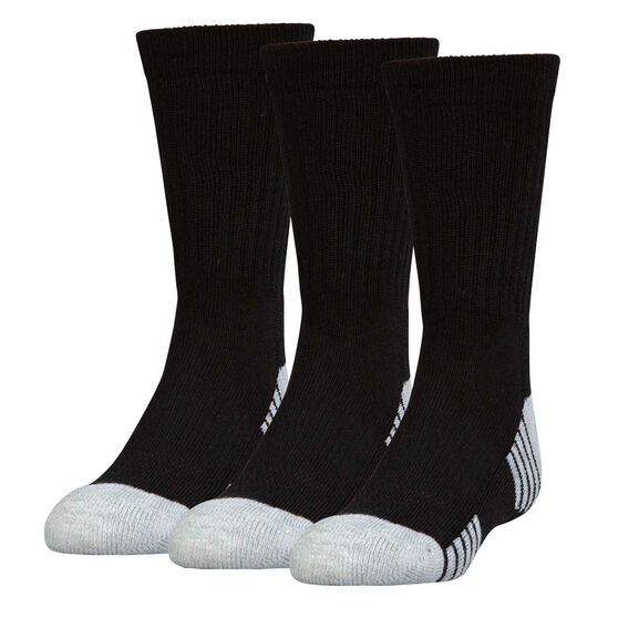 Under Armour Kids HeatGear Crew Socks 3 Pack, Black, rebel_hi-res