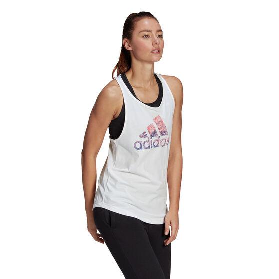 adidas Womens Snow Cone Graphic Tank, White, rebel_hi-res