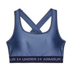 Under Armour Womens Mid Crossback Matte Shine Sports Bra Blue XS, Blue, rebel_hi-res