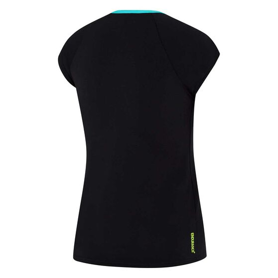 Speedo Womens Cap Sleeve Rash Vast, Black / Green, rebel_hi-res
