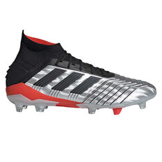 adidas Predator 19.1 Football Boots Silver / Black US Mens 7 / Womens 8, Silver / Black, rebel_hi-res