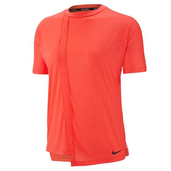 Nike Womens Rebel Running Tee, Red, rebel_hi-res