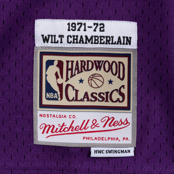 Los Angeles Lakers Wilt Chamberlain 71/72 Mens Swingman Jersey, Purple / Yellow, rebel_hi-res