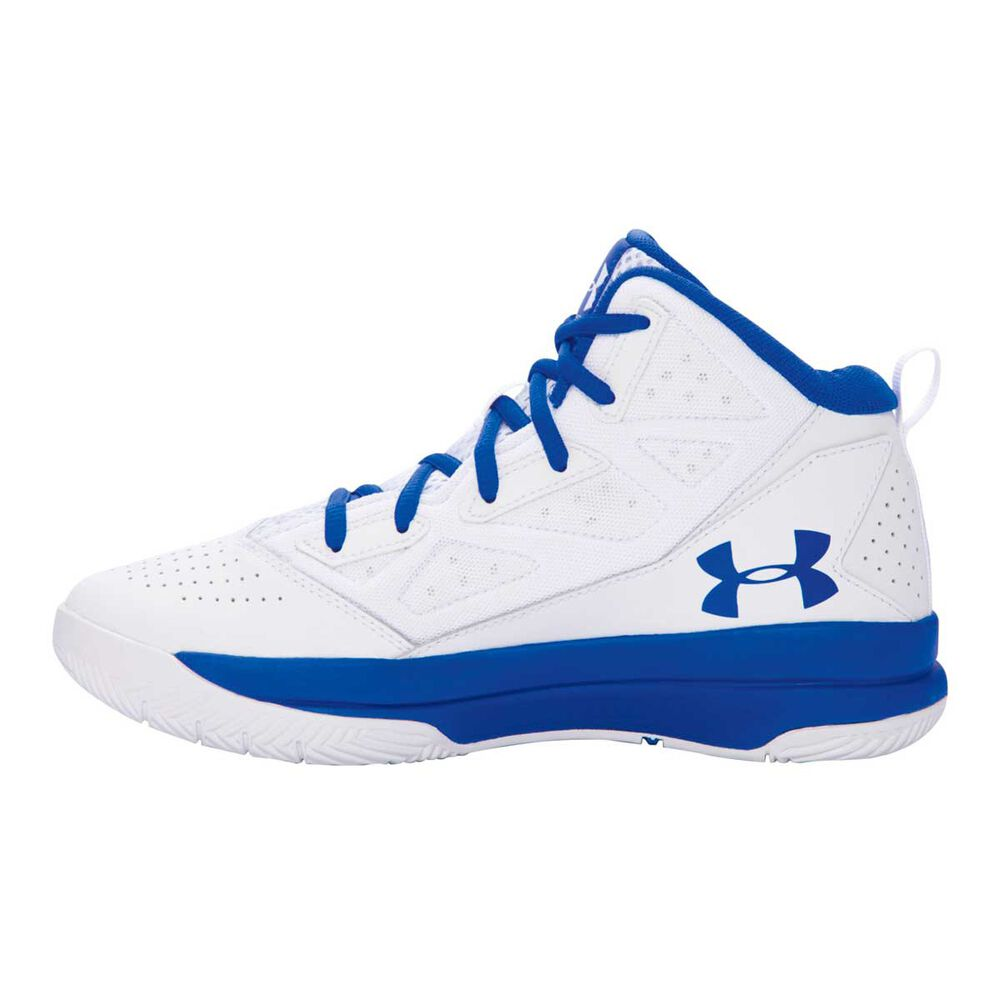 01aae81e1ae6 Under Armour Jet Mid Boys Basketball Shoes White   Blue US 4