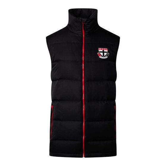 St Kilda Saints 2020 Mens Down Vest, Black, rebel_hi-res