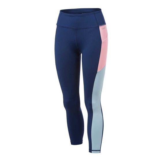 Ell & Voo Womens Kara 7/8 Pocket Tights, Navy, rebel_hi-res
