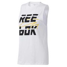 Reebok Womens Meet You There Muscle Tank, White, rebel_hi-res