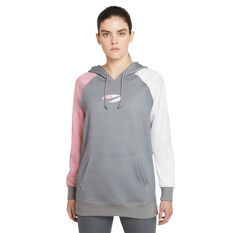 Nike Womens Therma-FIT Fleece Colour-Block Hoodie Grey XS, Grey, rebel_hi-res