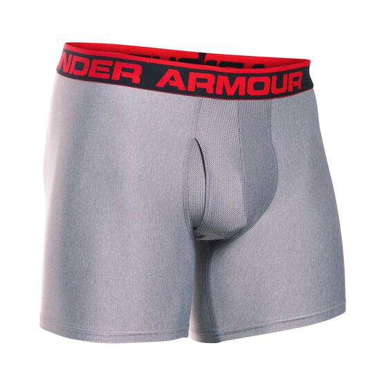 Under Armour Mens Original 6in BoxerJock, Grey / Red, rebel_hi-res