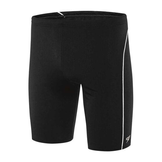 Speedo Mens Endurance Logo Waterboy Swim Shorts, Black / White, rebel_hi-res
