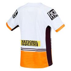 Brisbane Broncos 2021 Kids Away Jersey White 6, White, rebel_hi-res