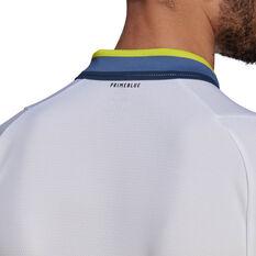 adidas Mens Primeblue Tennis Polo, White, rebel_hi-res