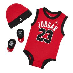 Nike Air Jordan 3 Piece Infant Set Red / Black 0 - 6, Red / Black, rebel_hi-res