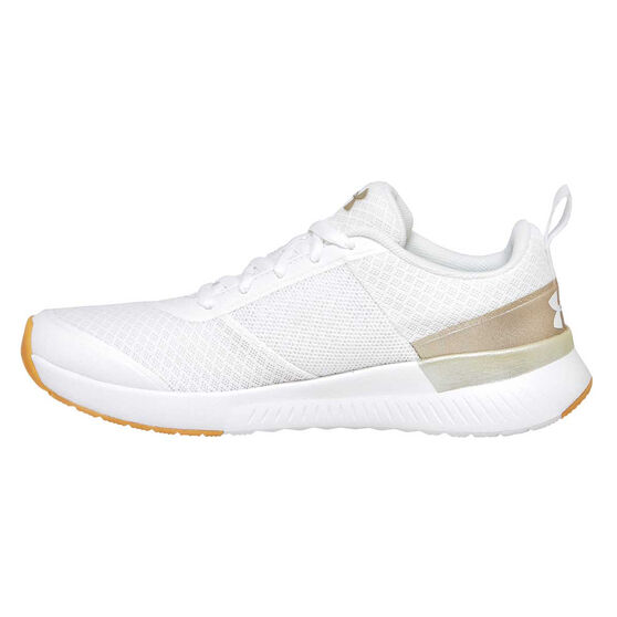 Under Armour Aura Womens Training Shoes, White / Gold, rebel_hi-res