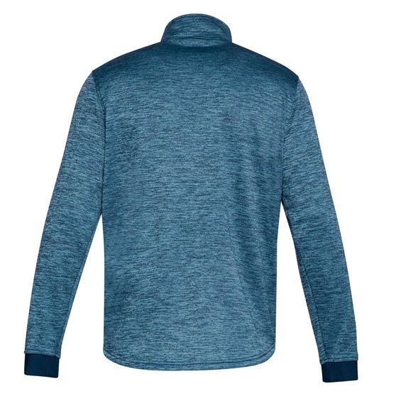 Under Armour Mens Armour Fleece Half Zip Longsleeve Shirt Navy XS, Navy, rebel_hi-res