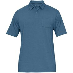 Under Armour Mens Charged Cotton Scramble Polo Blue S, Blue, rebel_hi-res