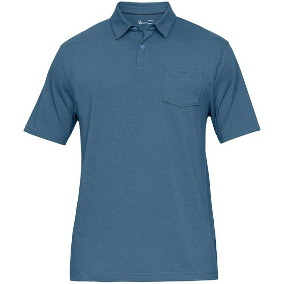 Under Armour Mens Charged Cotton Scramble Polo, Blue, rebel_hi-res