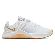 Nike MC Trainer Womens Training Shoes White/Gold US 6, White/Gold, rebel_hi-res