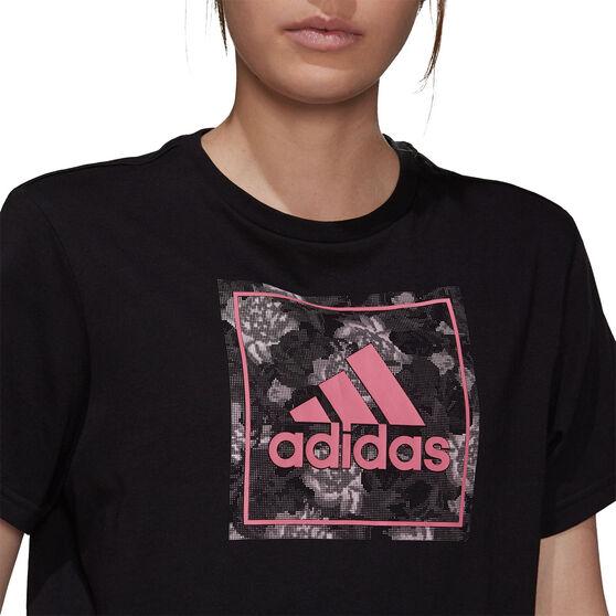 adidas Womens Flower Camo Box Graphic Tee, Black, rebel_hi-res