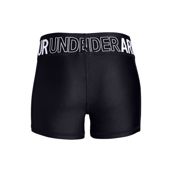 Under Armour Girls Heatgear Armour Shorts, Black / White, rebel_hi-res