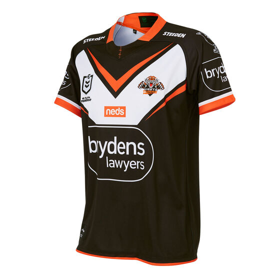 Wests Tigers 2021 Kids Home Jersey, Black, rebel_hi-res