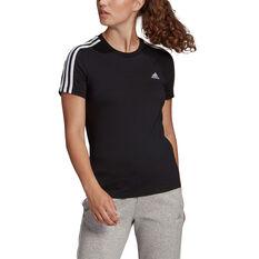 adidas Womens Essentials 3-Stripes Tee Black XS, , rebel_hi-res