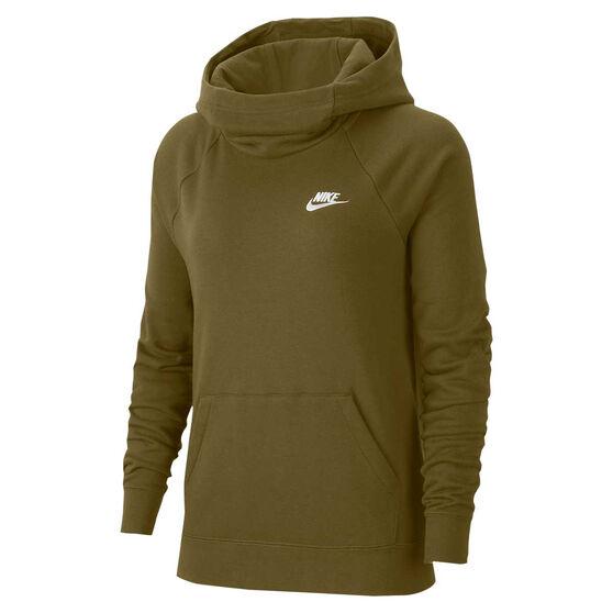 Nike Womens Sportswear Essentials Funnel Neck Fleece Hoodie, Olive, rebel_hi-res