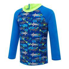 Speedo Toddler Boys Long Sleeve Shark Rash Vest Blue / Print 6, Blue / Print, rebel_hi-res
