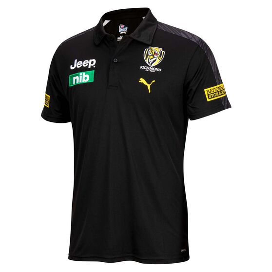 Richmond Tigers 2021 Mens Team Polo, Black, rebel_hi-res