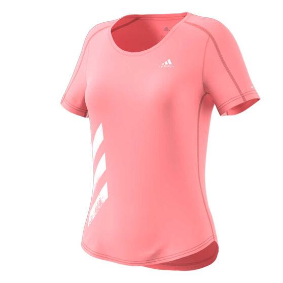 adidas Womens 3-Stripes Run Tee, Pink, rebel_hi-res