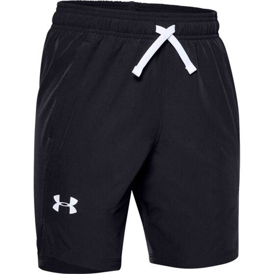 Under Armour Boys Woven Shorts, Black / White, rebel_hi-res