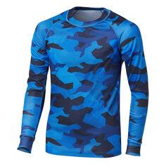 Tahwalhi Boys Peak Printed Thermal LS Ski Top Blue 4, Blue, rebel_hi-res