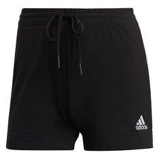 adidas Womens Essentials Slim 3-Stripes Shorts, Black, rebel_hi-res