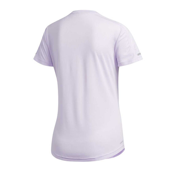 adidas Womens 3-Stripes Run Tee Purple M, Purple, rebel_hi-res