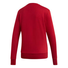 adidas Womens Essentials Linear Crewneck Sweatshirt Maroon XS, Maroon, rebel_hi-res