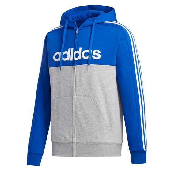 adidas Mens Essentials Colourblock Full Zip Hoodie, Blue, rebel_hi-res