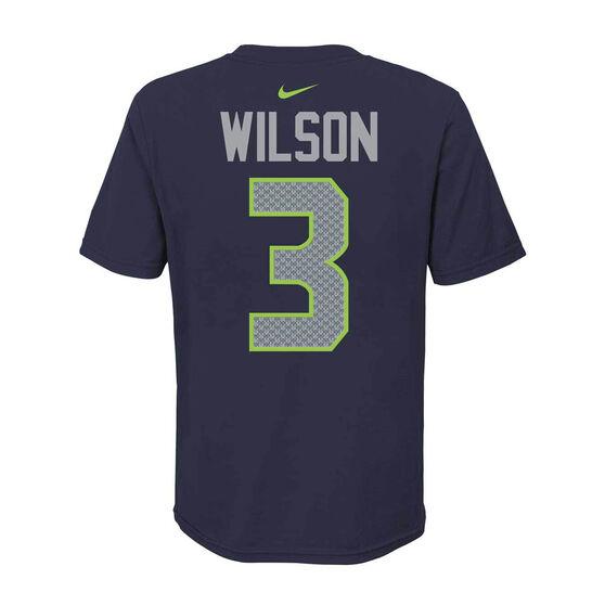 Seattle Seahawks Russell Wilson 2020 Kids Essential Tee, Navy, rebel_hi-res