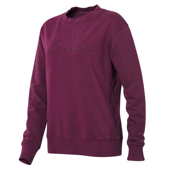 Ell & Voo Womens Savannah Crew Sweatshirt, Purple, rebel_hi-res
