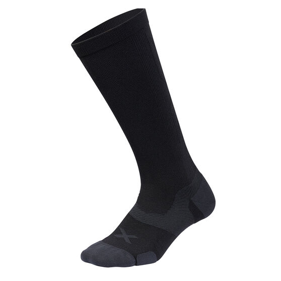 2XU Vectr Cushion Knee Length Socks, Black / Grey, rebel_hi-res