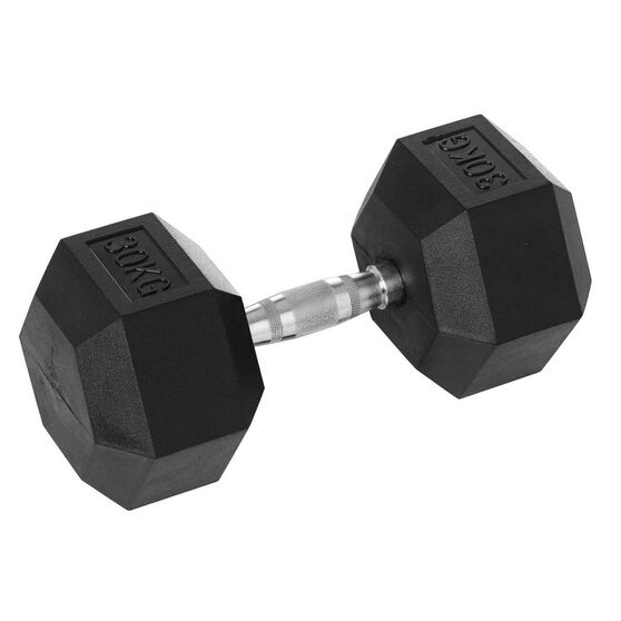 Celsius 30kg Rubber Hex Dumbbell, , rebel_hi-res