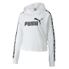 Puma Womens Amplified Cropped Hoodie White XS, White, rebel_hi-res