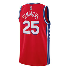 Philadelphia 76ers Mens Ben Simmons Swingman Jersey Red S, Red, rebel_hi-res
