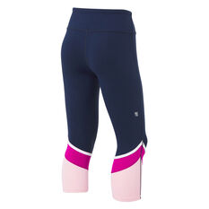 Ell & Voo Girls Erica Panel 7/8 Tights, Navy, rebel_hi-res