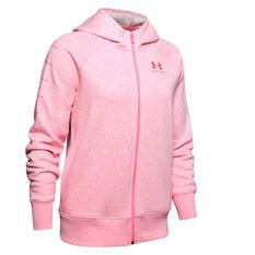 Under Armour Womens Rival Fleece Full Zip Graphic Hoodie Pink XS, Pink, rebel_hi-res