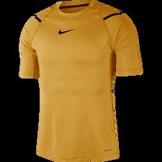 Nike Mens AeroAdapt Tee Gold S, Gold, rebel_hi-res